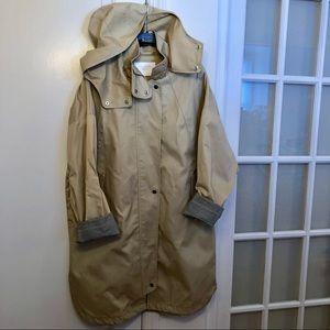 Zara Raincoat, removeable hood check roll cuffs